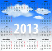 Spanish Calendar 2013 CLOUDS SKY — Stock Vector