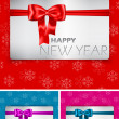 Happy New Year card with bow and ribbon — Stock Vector