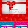 Happy New Year card with bow and ribbon - Stock Vector