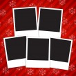 Stock Vector: Winter holidays card with blank photo frames