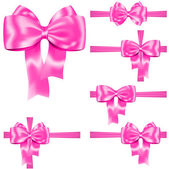 Pink ribbon and bow set — Stock Vector