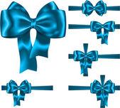 голубая лента и лук набор — Cтоковый вектор