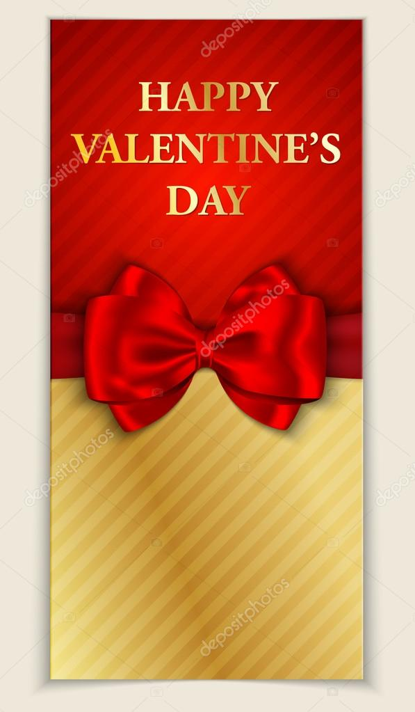 Valentine's day greeting card with blank space and red bow. Vector illustration — Stock Vector #18469931