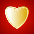 Stock Vector: Golden shiny heart on red background