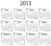 Spanish Calendar for 2013 with shadows. Mondays first — Stock vektor