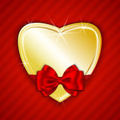 Golden shiny heart on red background — Stock Vector