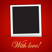 Love card template with blank photo frame on the red background — Stock Vector