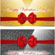 Stock Vector: Golden and silver Valentines cards