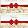 Two luxury greetings card congratulating Valentines day — Stok Vektör
