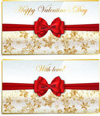 Two luxury greetings card congratulating Valentines day — Vector de stock