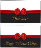 Two luxury greetings card congratulating Valentines day — Cтоковый вектор