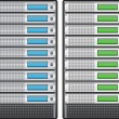 Servers in installed in rack — 图库矢量图片