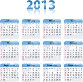 Blue glossy calendar for 2013 — Stock Vector