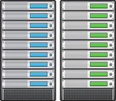 Servers in installed in rack — Stock Vector