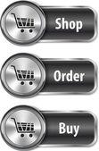 Elementos metálicos y brillante web para compras en línea — Vector de stock