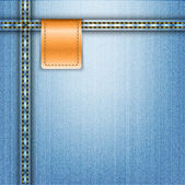 Hnědá kožená štítek na pozadí modré džíny — Stock vektor