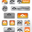 Royalty-Free Stock Vector Image: Collection of Upload to cloud metallic and glossy elements