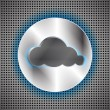 Stock Vector: Futuristic background with circle metallic inset and cloud
