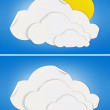 Mostly cloudy and cloudy weather signs made by folded paper - Stock Vector