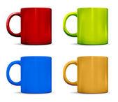 Tazas coloridos fotorrealistas — Vector de stock