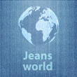Jeans world concept with the globe on denim texture background — Stock Vector