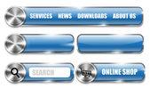 Web sitesi metalik ve parlak mavi tasarım öğeleri — Stok Vektör