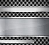 Brushed metal on textured metallic background — Stock Vector