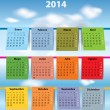 Stock Vector: Colorful Spanish calendar for 2014