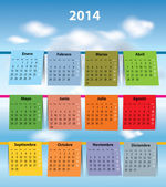 Colorful Spanish calendar for 2014 — Stock Vector
