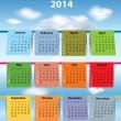Colorful calendar for 2014 — Stock Vector