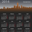 2014 year stylish calendar on cityscape background — Stock Vector