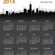Stock Vector: 2014 year stylish calendar on cityscape background