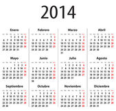 Spanish Calendar for 2014. Mondays first — Stock Vector