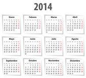 Spanish Calendar for 2014. Mondays first — Stock Vector