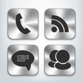 Communication brushed metal app icons — Stock Vector