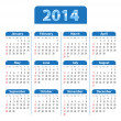 Stock Vector: Calendar 2014 blue