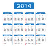 Calendar 2014 blue — Stock Vector