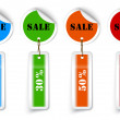 Sale sticker style sign with hanging labels — Imagen vectorial