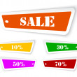 Stock Vector: Sale sticker style sign with hanging labels