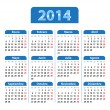 Blue glossy calendar for 2014 year in Spanish — Stock Vector