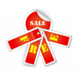 图库矢量图片: Sale sticker style sign with attached labels