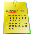 Calendar for september 2014 on colorful sticky notes attached wi — Stock Vector