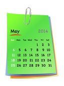 Calendar for may 2014 on colorful sticky notes attached with met — Stock Vector