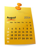 Calendar for august 2014 on orange sticky note attached with ora — 图库矢量图片