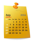 Calendar for july 2014 on orange sticky note attached with orang — Wektor stockowy