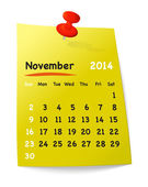 Calendar for november 2014 on yellow sticky note attached with o — Stock Vector