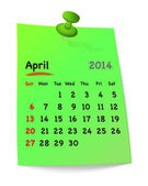 Calendar for april 2014 on green sticky note attached with green — Stock Vector