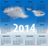 Spanish Calendar 2014 CLOUDS SKY — Stock Vector
