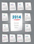 Calendar for 2014 year on sticky notes attached to the backgroun — Stock Vector