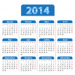 Blue glossy calendar for 2014 year in French — Stock Vector